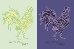 Cock 2017 New Year symbol. Pattern with cock on one-colored background and Happy New Year 2017 Stock Image