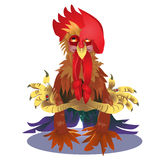 Cock and numbers 2017 in style of polygons.. Rooster, symbol of New 2017 - according to Chinese calendar Year of red fiery cock. Pet bird. Vector clipart, fully Stock Image