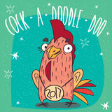 Cock or rooster with logo 2017 smiles. Cartoon playful cock or rooster with the logo 2017, stands and smiles on green background. Cock a doodle doo lettering Royalty Free Stock Images