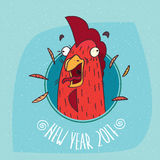 Cock or rooster screaming in round frame. Cartoon funny cock or rooster with her mouth open screaming in round frame on blue background. New Year 2017 lettering Royalty Free Stock Photography