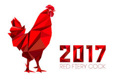 Cock - Rooster, symbol of New 2017. Cock and numbers 2017 in polygon style. Rooster, symbol of New 2017, according to Chinese calendar Year of red fiery cock Royalty Free Stock Photography