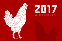 Cock - Rooster, symbol of New 2017. Cock and numbers 2017 in polygon style. Rooster, symbol of New 2017, according to Chinese calendar Year of red fiery cock Royalty Free Stock Image