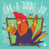 Cock or rooster in TV frame. Cartoon festive cock or rooster in TV frame holding glass of champagne and sparkler. Blue background and Cock a doodle doo lettering Royalty Free Stock Images
