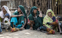 Cock seller tribal women Royalty Free Stock Image