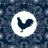 Cock silhouette bird pattern New year Symbol 2017. Vector illustration Stock Photo