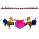 Cock symbol with gift box. Illustration in cartoon style Stock Images