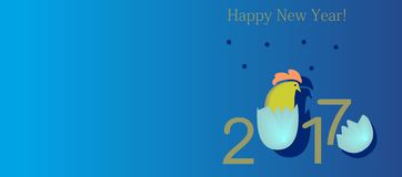 2017 with a cock, the symbol hatched from an egg. In orange, blue, yellow colors on a blue background Royalty Free Stock Photo