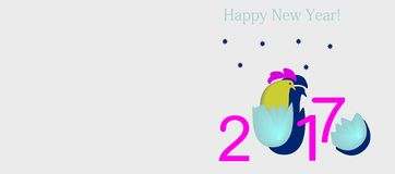 2017 with a cock, the symbol hatched from an egg. In purple, blue, yellow colors on a white background Royalty Free Stock Photos