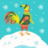 Cock. The symbol of the new year. Cartoon cock in winter clothes Stock Photography
