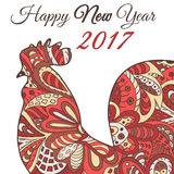 Cock. Symbol 2017. Red Rooster. Oriental pattern. Chinese New Year 2017 Stock Image