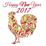Cock. Symbol 2017. Red Rooster. Oriental pattern. Chinese New Year 2017. Cock. Symbol 2017. Red Rooster. Oriental pattern. Ornament in red tones. Chinese New Royalty Free Stock Images