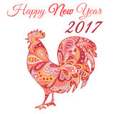 Cock. Symbol 2017. Red Rooster. Oriental pattern. Chinese New Year 2017. Cock. Vector silhouette. Symbol 2017. Red Rooster. Oriental pattern. Ornament in red Royalty Free Stock Image