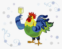 Cock with wine glass. Cock with a glass of wine in his hand wishes a happy new year 2017 Royalty Free Stock Images