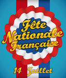 Cockade with Ribbon and Greeting Message for French National Day, Vector Illustration Stock Photo