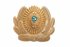 Cockarde of militia of the USSR. Cockarde an emblem of a headdress of militia of the USSR on a white background Royalty Free Stock Photo