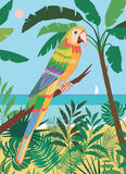 Cockatoo on a branch in tropical landscape. Vector illustration with stylized parrot on the background of a tropical landscape Royalty Free Stock Images