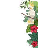 Cockatoo card with hibiscus leaves jungle Stock Photo