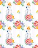 Cockatoo seamless texture with flowers Vector Illustration