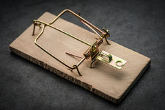 Cocked empty mousetrap. Cocked empty mousetrap on dark background. Selective focus Royalty Free Stock Images