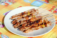 Cocked pork kabobs grilled on skewers Stock Photography