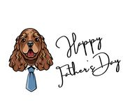 Cocker Spaniel dad. Fathers day card. Dad greeting. Happy Fathers day text. Dog wearing in necktie. Vector. Cocker Spaniel dad. Fathers day card. Dad greeting Stock Images