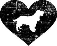 Cocker Spaniel i svartvit hjärta stock illustrationer
