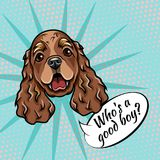 Cocker Spaniel portrait. Dog muzzle face head. Who is good boy lettering. Vector. Cocker Spaniel portrait. Dog muzzle face head. Who is good boy lettering Royalty Free Stock Images