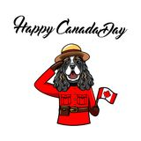 Cocker Spaniel. Royal Canadian Mounted Police form. Happy Canada day greeting. Canadian flag. Greeting card. Vector. Cocker Spaniel. Royal Canadian Mounted Royalty Free Stock Photography