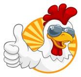 Cockerel κοκκόρων κοτόπουλου κινούμενα σχέδια γυαλιών ηλίου πουλιών απεικόνιση αποθεμάτων