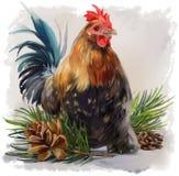 Cockerel ζωγραφική watercolor διανυσματική απεικόνιση