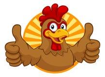 Cockerel κοκκόρων κινούμενων σχεδίων κοτόπουλου χαρακτήρας απεικόνιση αποθεμάτων