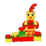 Cockerel με τα δώρα διανυσματική απεικόνιση