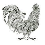 Cockerel, μονοχρωματικός διακοσμητικός κόκκορας ελεύθερη απεικόνιση δικαιώματος