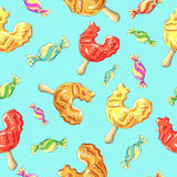 Cockerel candy pattern. Caramel on stick. Lollipops Cock Royalty Free Stock Image