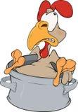 Cockerel and a pan. Cartoon Stock Image