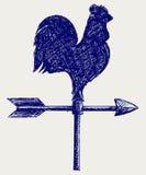 Cockerel wind vane. Doodle style. Vector Stock Photos