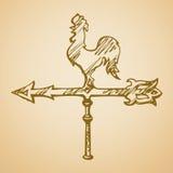 Cockerel wind vane. Vector drawing Royalty Free Stock Photos