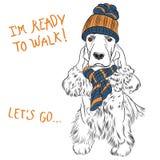 Cockerspaniel för engelska för vektorhipsterhund Royaltyfria Bilder