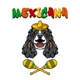 Cockerspanielhund Mustasch Maracas, sombrero Mexico symboler Mexicana inskrift vektor vektor illustrationer