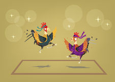 Cockfighting ring with two brave roosters behaving like martial artists. Editable Clip Art. Stock Photos