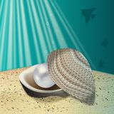 Cockleshell with a pearl on a sea-bottom Stock Photography