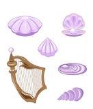 Cockleshell set. Set of sea lilac cockleshells and harp Stock Images