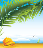 Cockleshell under a palm branches. On the background of landscape. Illustration Royalty Free Stock Photography