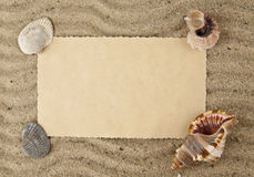 Cockleshells,  paper on sand Stock Photography
