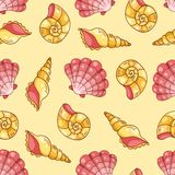 Cockleshells seamless pattern yellow Royalty Free Stock Image