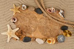 Cockleshells, stone, paper and compass Stock Image