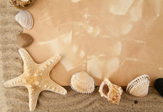 Cockleshells, stone, paper Stock Photography