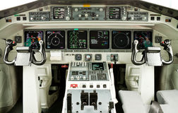 Cockpit. Of an airliner with all displays on Stock Image