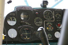 Cockpit. Inside view of an airplane cockpit royalty free stock photography