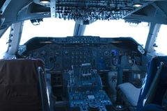 Cockpit 747 Stockfotos